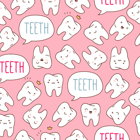 dientes caricatura: Patrón Seamless dientes. Ilustración del vector para los niños odontología. Vectores
