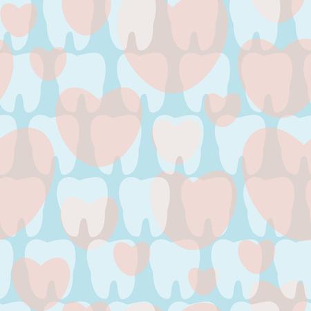 Seamless teeth pattern. Vector illustration for children dentistry.  Ilustração