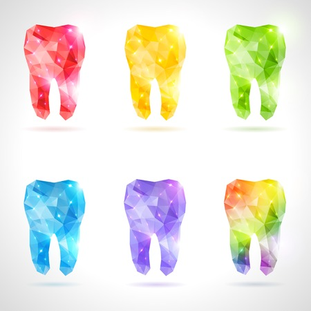 Rainbow tooth. Abstract vector illustration. Dental background in origami style. Vector background.  Çizim