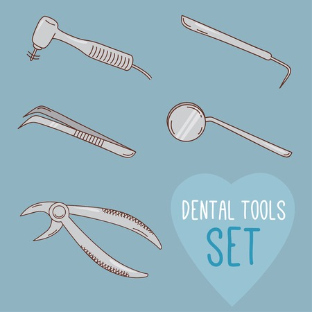 dentist cartoon: Set of vector dental tools. Cartoon style. Teeth treatment and care. Dental collection for your design. Illustrations for children dentistry and kids about toothache, care and treatment.