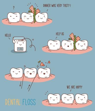 dientes caricatura: Ilustración del vector para los niños odontología y la ortodoncia. Dientes lindos personajes.
