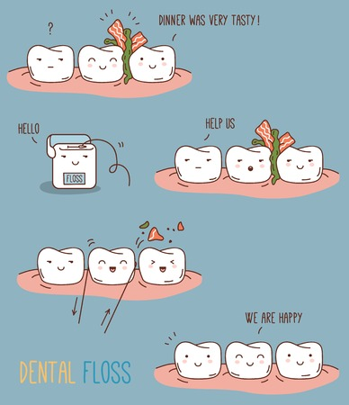 Vector illustration for children dentistry and orthodontics. Cute teeth characters. Illustration