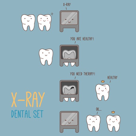 dentist cartoon: Comics about dental X-ray. Vector illustration for children dentistry and orthodontics. Cute vector characters. Cartoon tooth. X-ray machine.