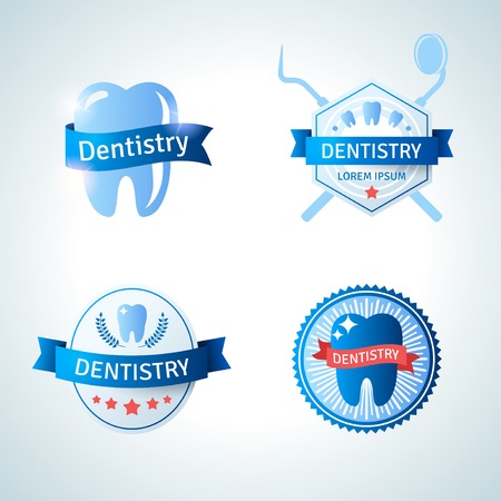 Dental emblem collection for dentistry and orthodontics. Vector illustration. Vintage emblems with ribbons. Ilustração