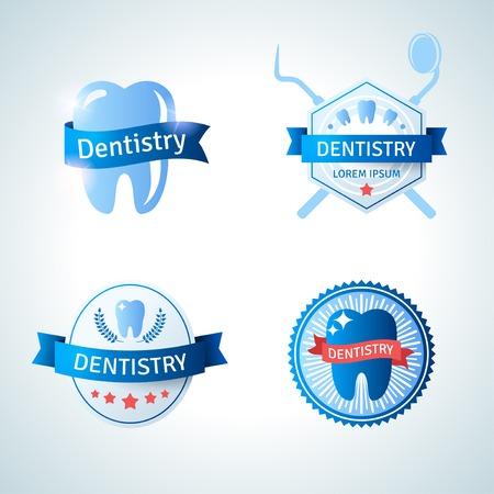 dental treatment: Dental emblem collection for dentistry and orthodontics. Vector illustration. Vintage emblems with ribbons. Illustration