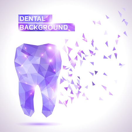 Dental background in origami style. Vector background Çizim