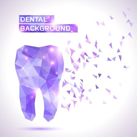 dientes: Odontolog�a de fondo en estilo origami. Vector de fondo