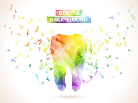 Dental background in origami style. Vector background.