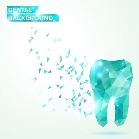 bright: Abstract illustration. Dental background in origami style.