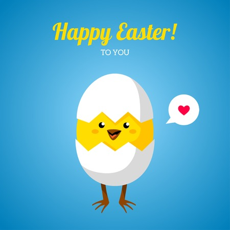 Vector illustration. Cute character. Happy Easter greeting card design. Vector