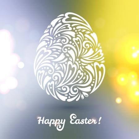 Floral Easter egg background made of doodle pattern on blurred background. Vector illustration. Bokeh. Sparkles. Vector