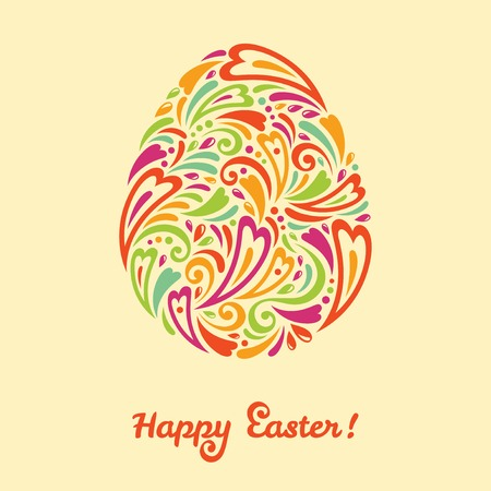 Easter egg in doodle minimalism stylet. Easter template design, greeting card. Abstract retro shape.