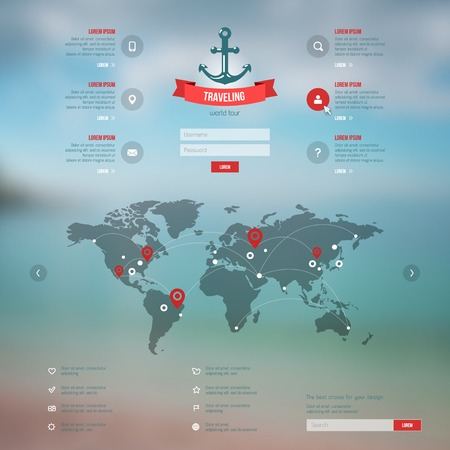 world globe map: Corporate website design. Blurred background. Interface icons, application form, buttons. Illustration