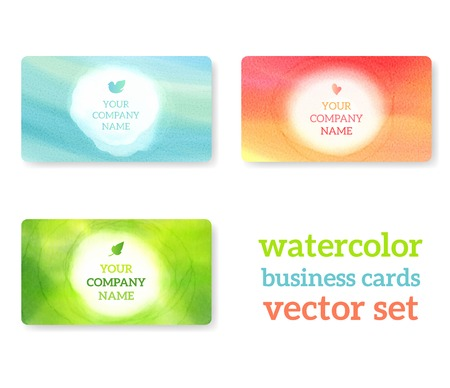 Set of business cards with watercolor background. Vectorillustration. Watercolor on wet paper. Vectores