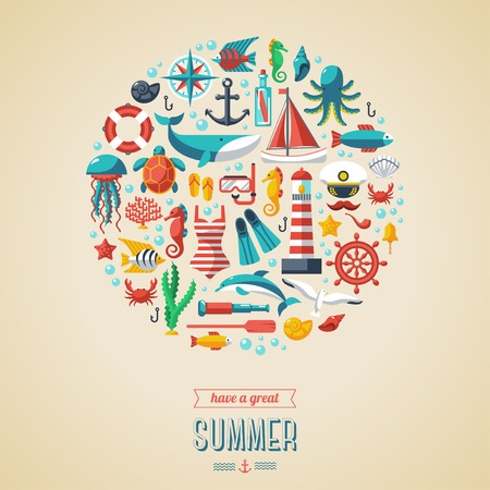 summer holiday: Flat icons in circle. Vector illustration. Marine symbols. Sea leisure sport.