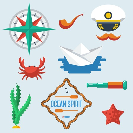 ocean floor: Sea objects collection. Vector illustration. Sea creatures. Paper boat