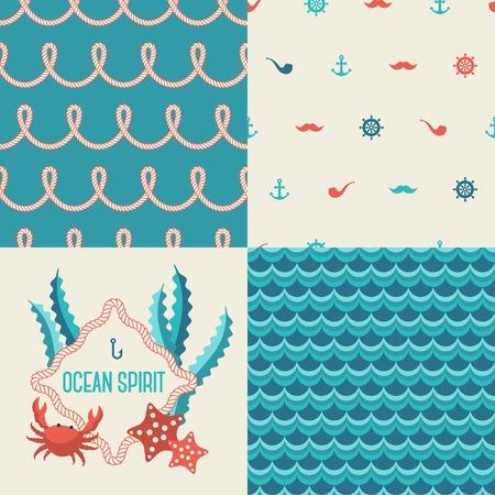 Imprimer Marine. Corde nautique. Emblème de crabe et étoiles de mer.