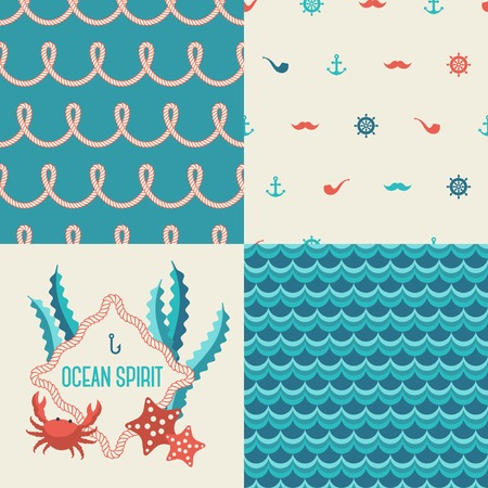Marine print. Nautical rope. Emblem with crab and sea star. Vector
