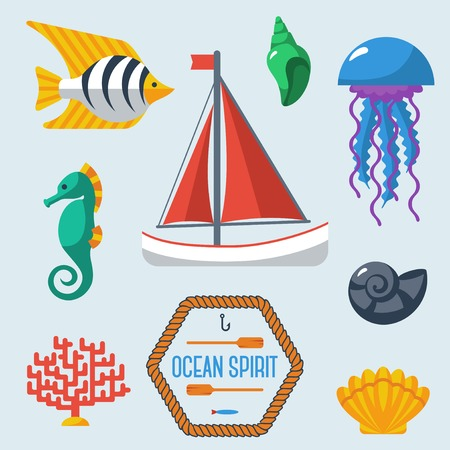 Sea objects collection. Vector illustration.  Sea creatures, yacht. Different seashells. Vector