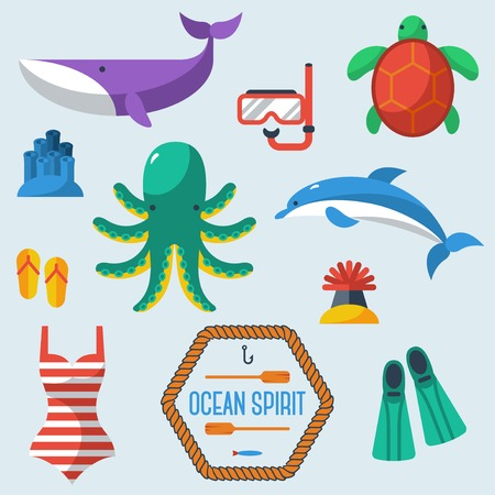 algae cartoon: Sea objects collection. Vector illustration. Diver equipment. Octopus