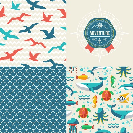 Turtle, dolphin, octopus, whale, seagulls. Ocean themed design Illustration