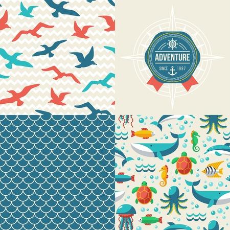 sea mammal:  Turtle, dolphin, octopus, whale, seagulls. Ocean themed design Illustration