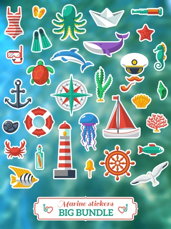 Nautical design elements. Vector illustration. Blurred waves background. Vector