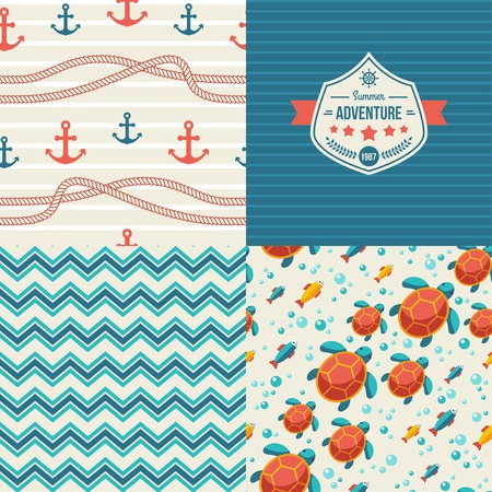 Pattern with turtle and tuna. Ocean themed design Vector