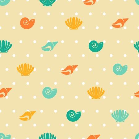 nautical pattern: Different sea shells. Vector illustration.