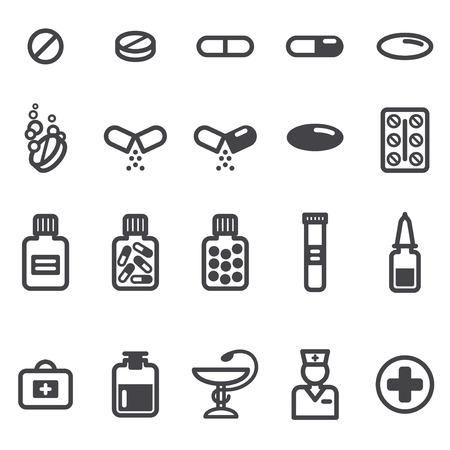 Pillen en capsules iconen set. Vector illustratie. Apotheek symbolen en objecten. Stock Illustratie