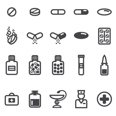 Pills and capsules icons set. Vector illustration. Pharmacy symbols and objects. Vector