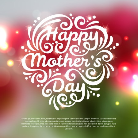 Vector illustration. Blurred background with lights. Unfocused background with flowers.