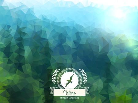 マウンテン ビュー。森林。シーガルとリボンでレトロなラベル デザイン。  イラスト・ベクター素材