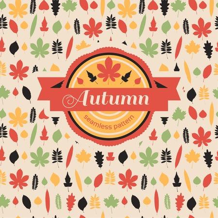 seasonal forest: Vector illustration. Autumn leaf background. Autumn seamless pattern.