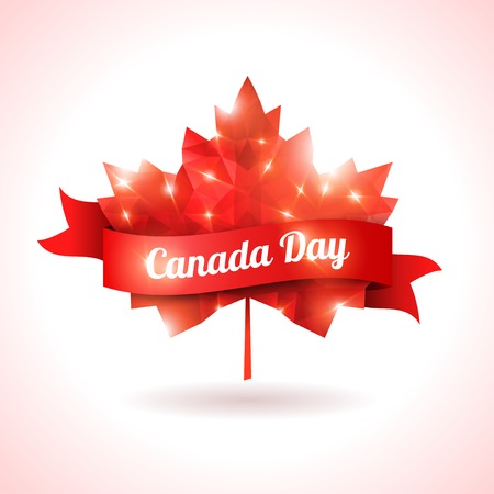 Maple leaf with red ribbon. Abstract triangular shape. Symbol of Canada. Sparks and lights, festive design. Illustration