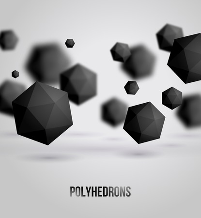 Vector illustration. Polyhedrons. Crystals. Technology or scientific backdrop.  Vettoriali