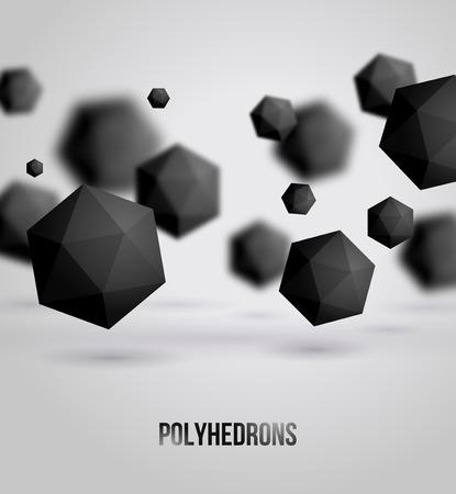 Vector illustration. Polyhedrons. Crystals. Technology or scientific backdrop.  Vectores