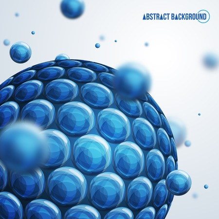 Vector illustration. Molecules. Molecular structure. Blue abstract background with 3D particles out of focus. Science concept. Illustration