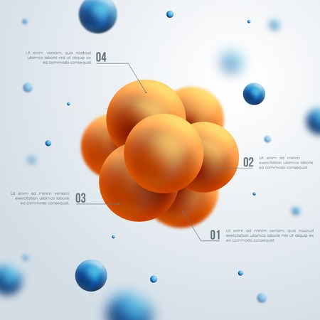 Vector illustration. Atoms. Group of atoms forming molecule. Chemical technology concept.