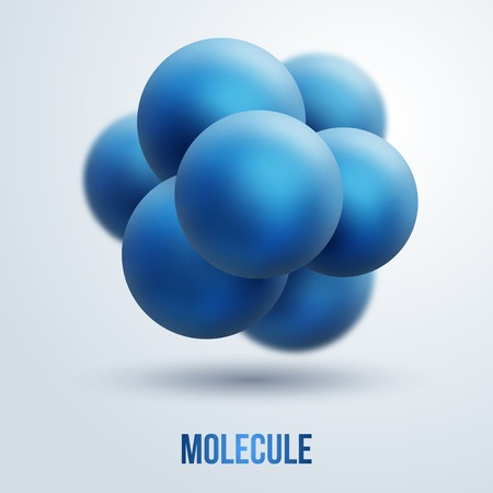 Vector illustration. Group of atoms forming molecule. Chemistry concept. Three-dimensional icon.