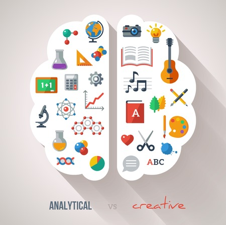 aprendizaje: Concepto vectorial. Con textura de fondo. Ciencias y Artes. Volver a iconos de la escuela. Las funciones del cerebro izquierdo y derecho.
