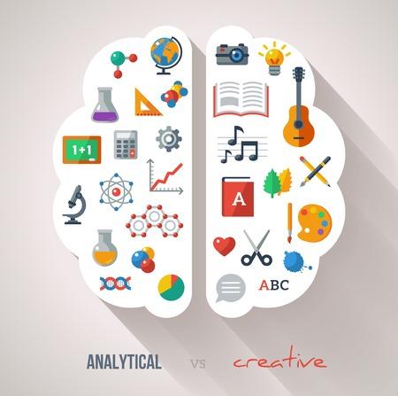 Vektor-Konzept. Strukturierten Hintergrund. Wissenschaften und Künste. Zurück zu Schule-Ikonen. Linke und rechte Gehirnfunktionen. Vektorgrafik