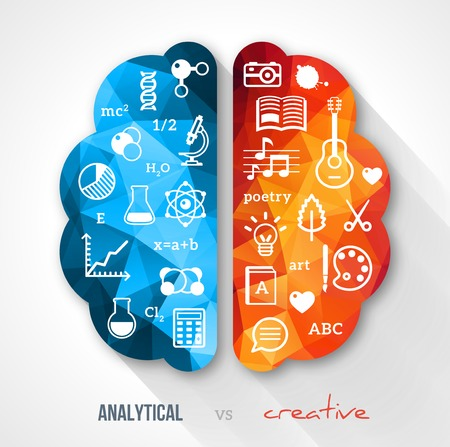 left right: Vector concept. Sciences and arts. Back to school icons. Left and right brain functions.