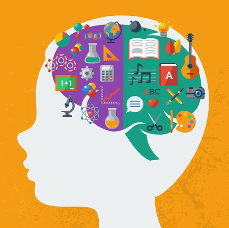 Vector concept. Textured background. Sciences and arts. Back to school icons. Left and right brain functions. Illustration