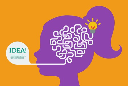 creative concepts: Flat style. Education and science poster or banner. Woman head with abstract brain inside.