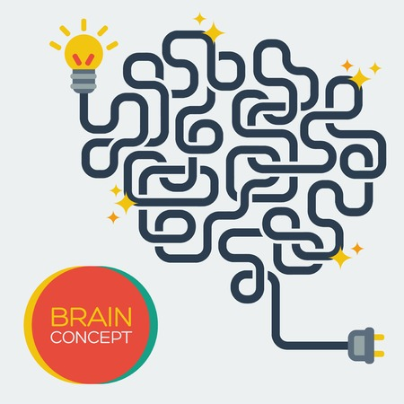 brain power: Flat style. Education and science poster or banner.