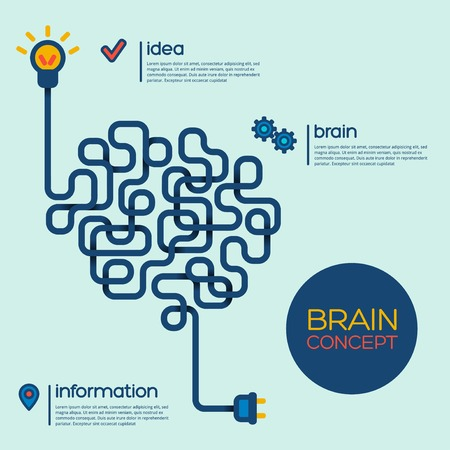 Creative concept of the human brain. Vector illustration. Vectores