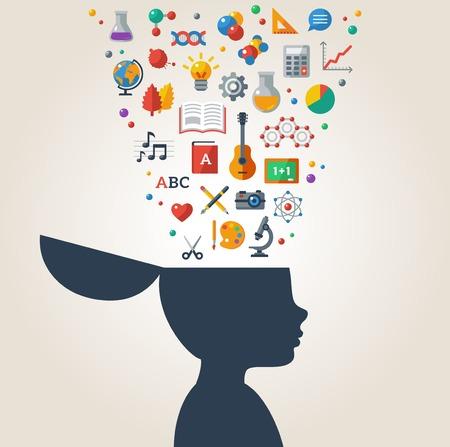 教育: 矢量插圖。男孩剪影與學校的圖標和符號在他的頭上。回到學校。學習的過程。