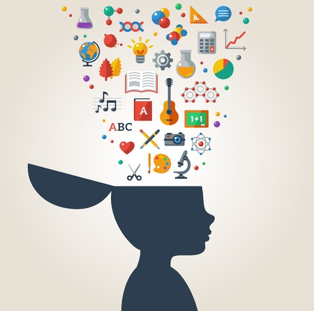 contemplate: Vector illustration. Boy silhouette with school icons and symbols in his head. Back to school. Learning process.