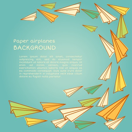 Frame design with paper planes.. Vector illustration. Back to school Vector